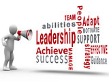 White figure revealing leadership terms with a megaphone