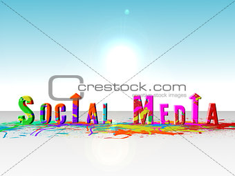 Paint splatter spelling out social media