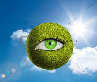Green eye in a green globe