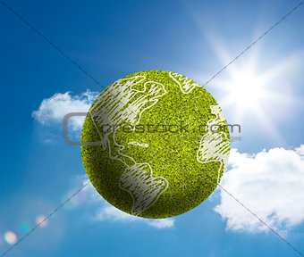 Green globe with map surface draw on floating in the sky