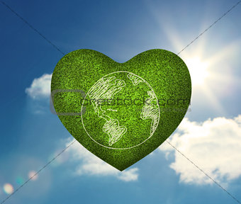 Green heart shape with earth drawn on it