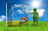 Green character presenting a jigsaw with houses and wind turbine inside