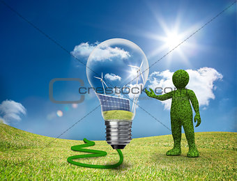 Green character showing a light bulb