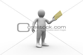 White figure holding a brown envelope