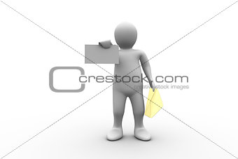 White figure holding a brown envelope and letter