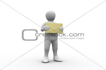 White figure holding a big brown envelope