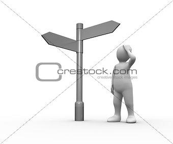 Lost white human representation looking at blank signpost