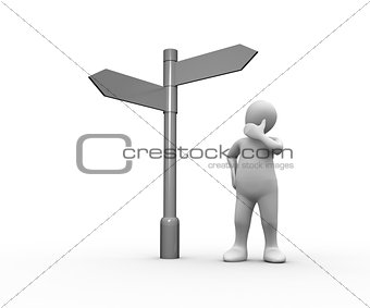 Confused white human representation looking at blank signpost