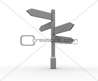 Blank signpost standing