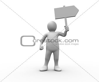 Human figure holding blank signpost