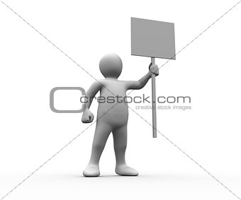 Human figure holding blank panel