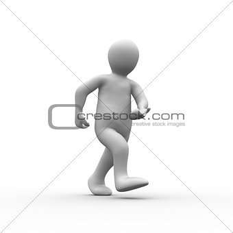 White human figure walking
