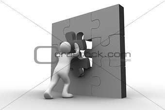 White human representation solving jigsaw puzzle