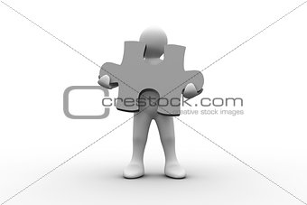 White human representation holding jigsaw puzzle