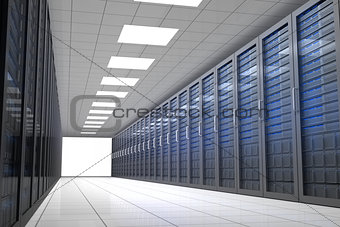 Hallway of tower servers