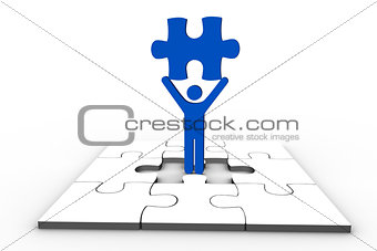 Blue human representation holding jigsaw piece