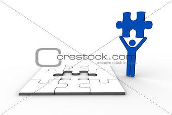 Blue human figure holding jigsaw piece