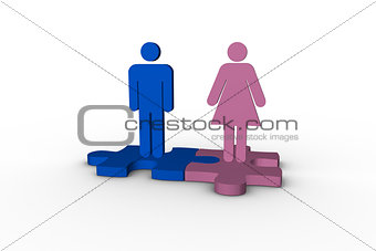 Blue and pink human figures over jigsaw pieces meshed together