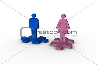 Blue and pink human figures over jigsaw pieces separated