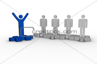 Blue human form raising arms over jigsaw piece next to other human forms