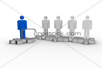 Blue human form over jigsaw piece next to other human forms