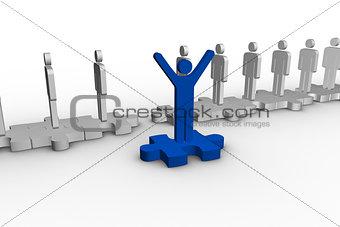 Blue human form over jigsaw piece raising arms