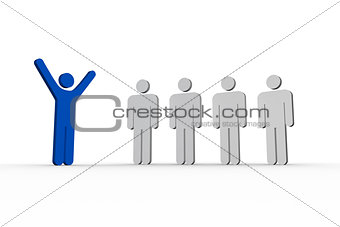 Blue human form raising arms in front of white other forms