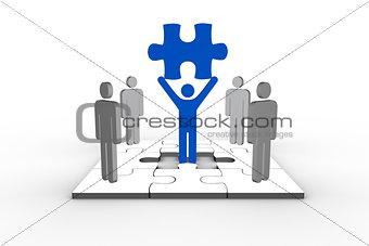 Blue human form brandishing jigsaw piece