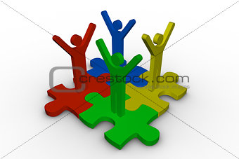 Group of meshed jigsaw pieces with colorful human representation