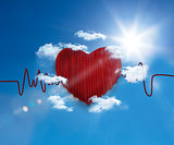 Heart rate line in the sky
