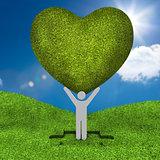 Human representation holding a big green heart