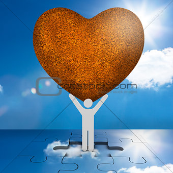White human representation holding a big brown heart