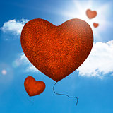 Red balloons heart shape
