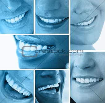 Collage of white smiles in blue tint