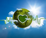 Green and white waveform with green earth and heart shape