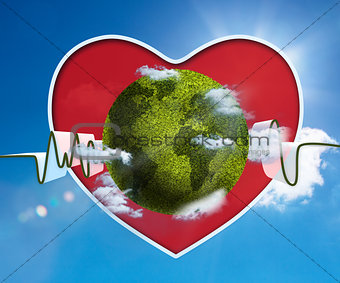 Green and white waveform with green earth and red heart
