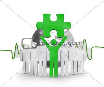 Green character holding green jigsaw piece