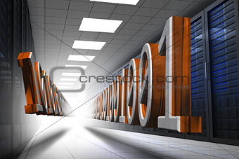3d binary code in data center hallway