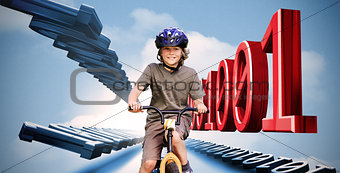 Little boy on a bike with binary code