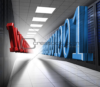 Blue and red binary code in data center