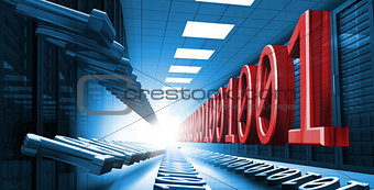 Blue and red binary code in data center hall leading to light