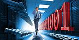 Businessman racing through data center
