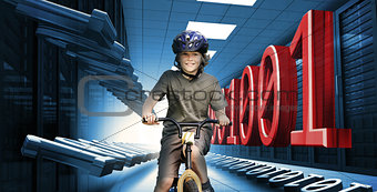 Child on bike in data center with binary code