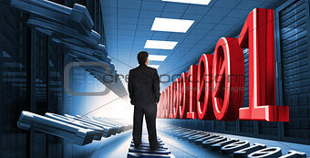 Businessman standing in data center