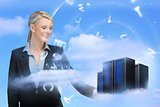 Businesswoman looking at data servers