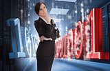 Businesswoman thinking of binary code in data center
