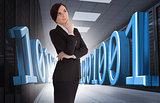 Businesswoman thinking in data center