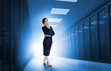 Businesswoman standing in data center