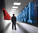 Businessman looking at 3d binary code in data center