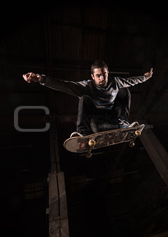 Low angle view of skater mid air